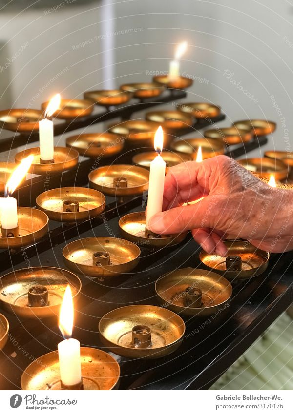devotion Candle Metal Emotions To console Grateful Belief Sadness Religion and faith Hope Love Tradition Colour photo Interior shot Light