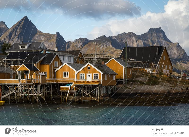 Vacation & Travel Nature Landscape House (Residential Structure) Clouds Mountain Autumn Yellow Environment Tourism Trip Beautiful weather Village Hut