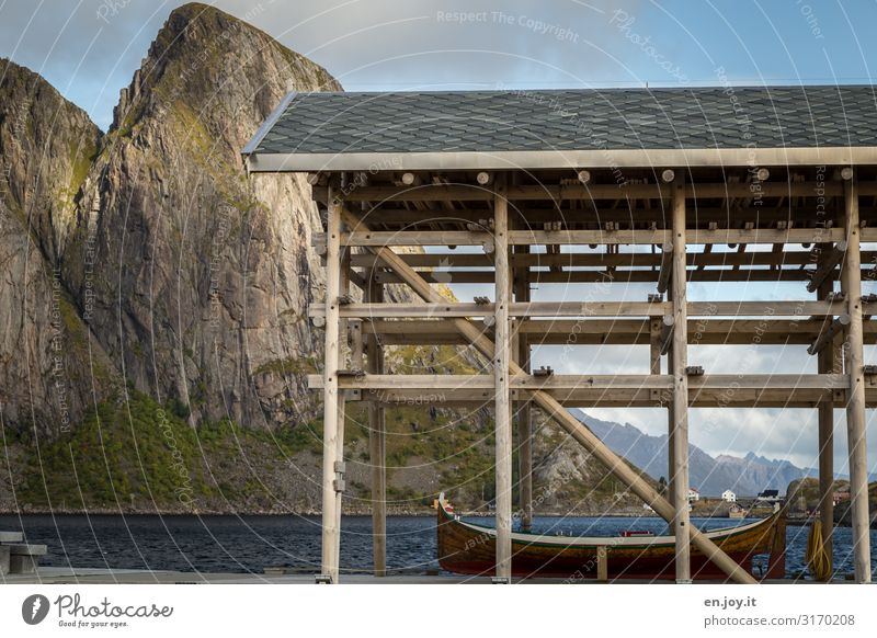 boathouse Vacation & Travel Environment Nature Landscape Rock Mountain Fjord Lofotes Norway Scandinavia Reine Reinefjorden Hamnöy Fishing village Boathouse