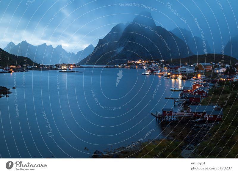 Vacation & Travel Nature Landscape Mountain Cold Tourism Rain City trip Village Scandinavia Norway Small Town Port City Fjord Bad weather Night sky