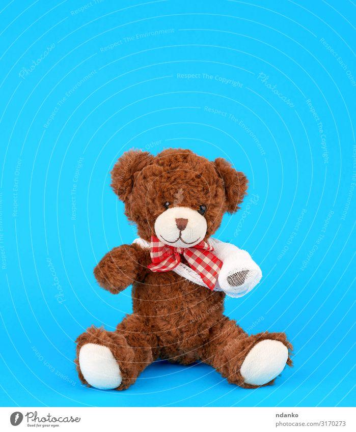 teddy bear with rewound white bandage paw Joy Medical treatment Illness Medication Child Hospital Infancy Arm Band Animal Paw Toys Doll Teddy bear Sit Small