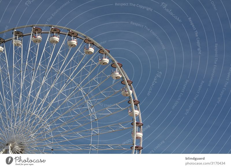 Wheel Of Life Trip Summer vacation Ocean Fairs & Carnivals Showman Beautiful weather Oostende Metal Steel Plastic Movement Driving Blue Gray White Joy Happiness