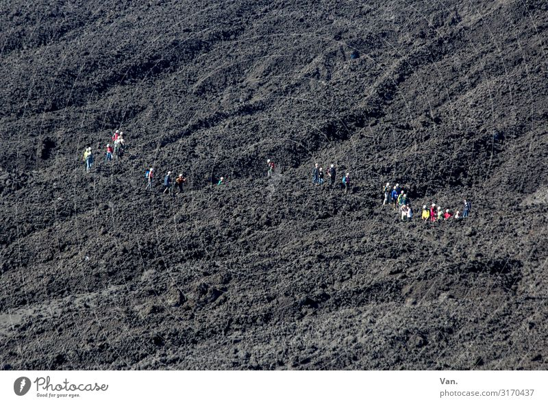 I can see the way clearly Vacation & Travel Hiking Human being Group Nature Landscape Elements Earth Hill Volcano Mount Etna Sicily Small Gray Black Lava field