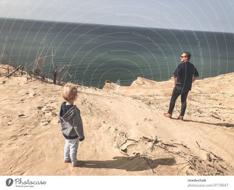 Father with child on the beach holiday cliff wanderlust role model Human being Toddler Man Adults Family & Relations Infancy Life 2 hillock Coast Ocean Free
