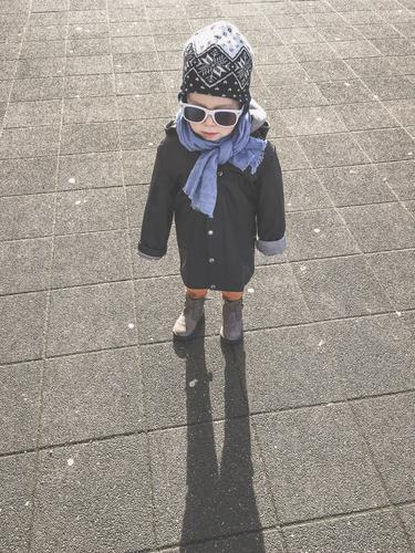 Little man - you'll grow into it Boy (child) Child Toddler sunshine Sunglasses cap peel Autumn Winter urban Human being Infancy portrait Jacket 3 - 8 years 1