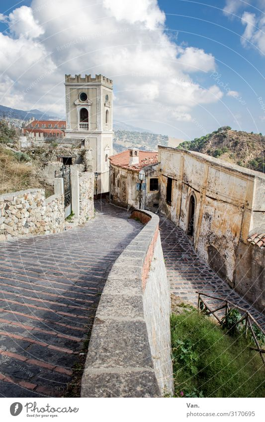 Savoca Sky Clouds Summer Beautiful weather Bushes Hill Sicily Village Deserted House (Residential Structure) Church Tower Building Wall (barrier)