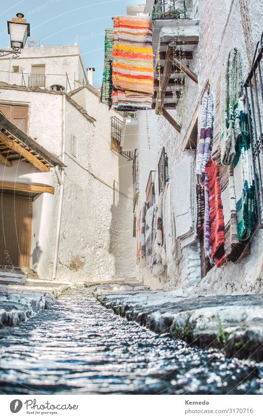 Famous and touristic street of Pampaneira, Granada, Spain. Sky Vacation & Travel Nature Old Summer Town Beautiful Water White Landscape Sun