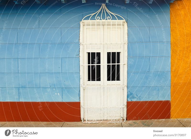 blue and yellow facade , trinidad - cuba Vacation & Travel Old Blue Town Beautiful House (Residential Structure) Window Street Architecture Lifestyle