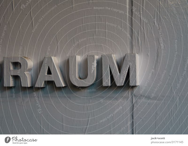 ROOM Far-off places Wall (building) Style Wall (barrier) Gray Moody Design Decoration Arrangement Authentic Uniqueness Idea Simple Typography Word Upward