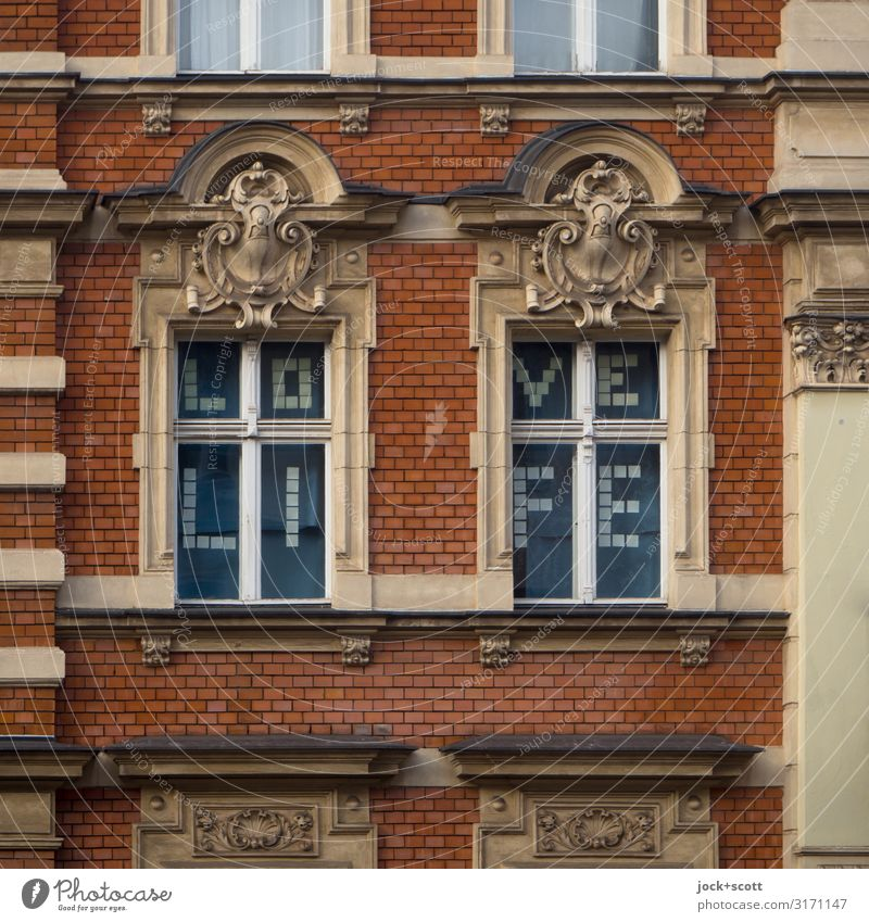 LOVE LIFE a middle-class apartment building Style Schöneberg Town house (City: Block of flats) Facade Window Story Decoration Brick Word Above Optimism