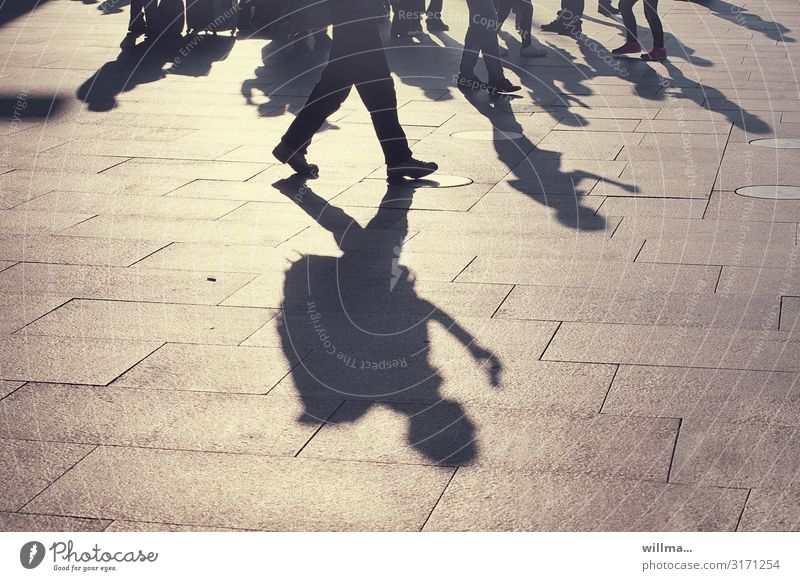 Shadow of a group of people on a public square Human being Group Places Business Going Stand In transit Light and shadow Shadow play Tourist Traveling Backpack