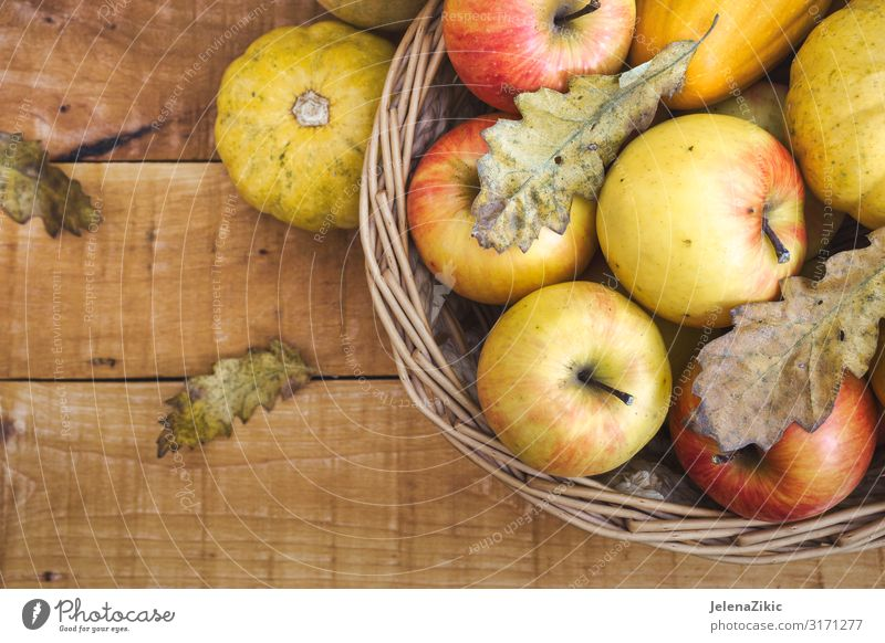 Basket with fresh organic fruits Nature Summer Red Leaf Food Eating Wood Autumn Natural Garden Copy Space Fruit Nutrition Fresh Table Delicious