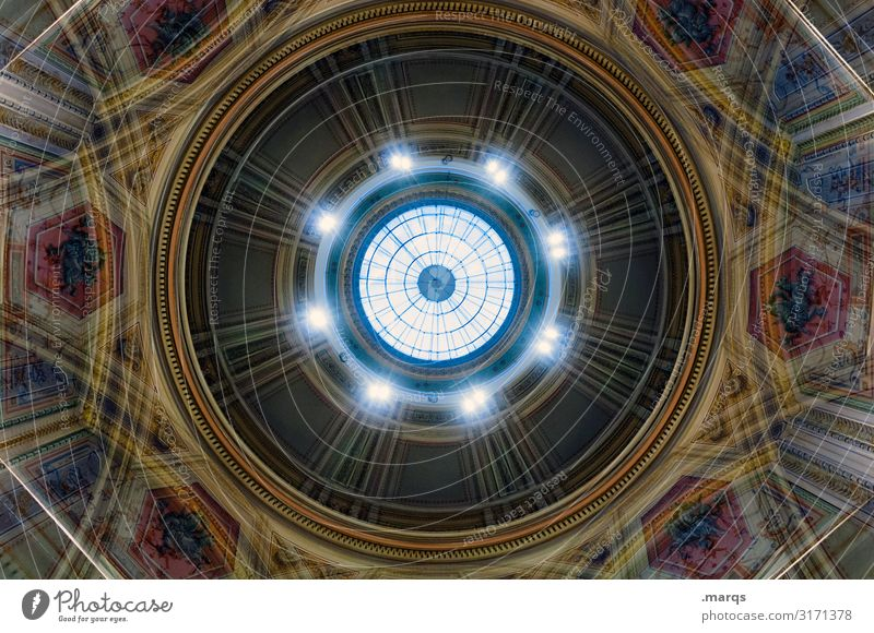 cupola Domed roof Ornament Old Historic Round Beautiful Moody Esthetic Perspective Irritation Circle Symmetry Hypnotic Painted Palace Double exposure
