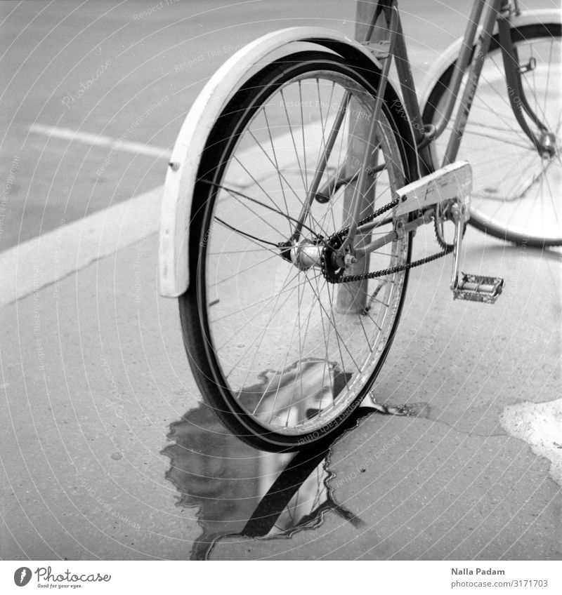 puddle Budapest Hungary Europe Capital city Street Bicycle Steel Driving Gray Black Black & white photo Exterior shot