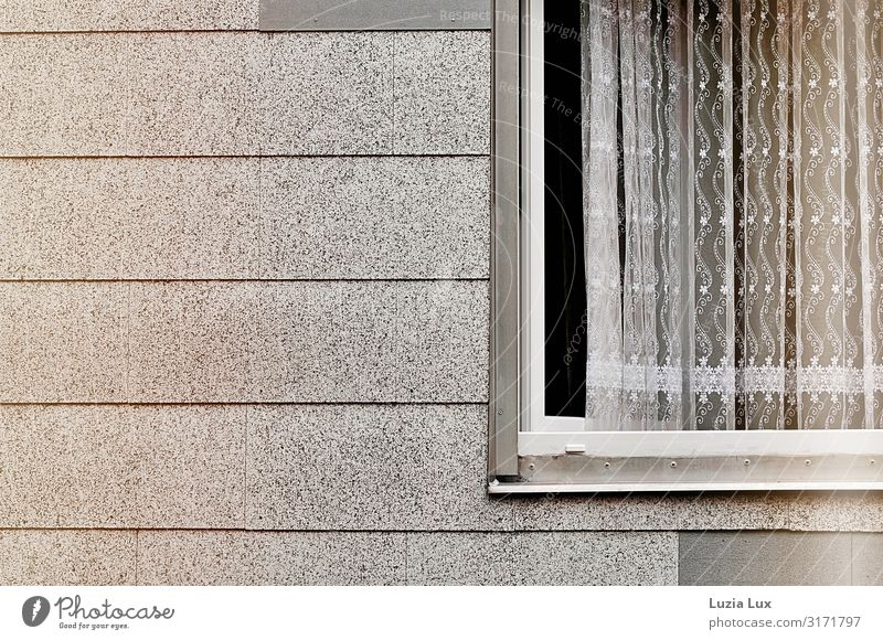 Windows, wide open Living or residing Wall (barrier) Wall (building) Facade Gloomy Delicate Curtain Drape Insight Open Gray White Subdued colour Exterior shot