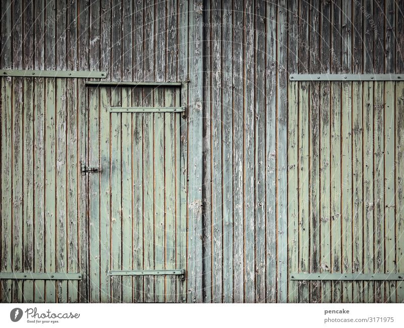 STRUCTURAL CHANGE Hut Building Facade Door Senior citizen Calm Protection Wooden wall Wooden house Wooden board Farm Barn Green Weathered Closed