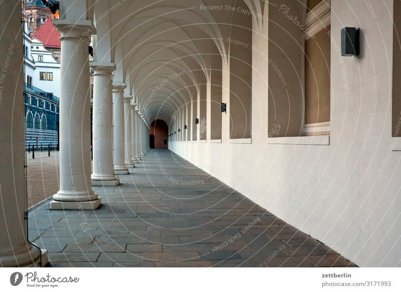 Vacation & Travel Town Travel photography Dark Architecture Tourism Culture Perspective Capital city City trip Old town Dresden Saxony Ancient Archway