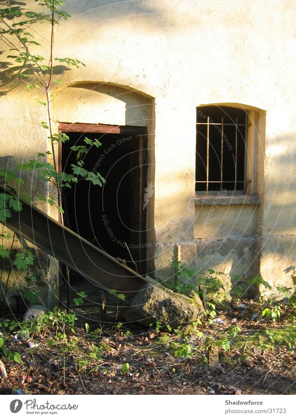 forsake sb./sth. Window Dark House (Residential Structure) Building Wall (building) Architecture Door Derelict Loneliness Barn Overgrown