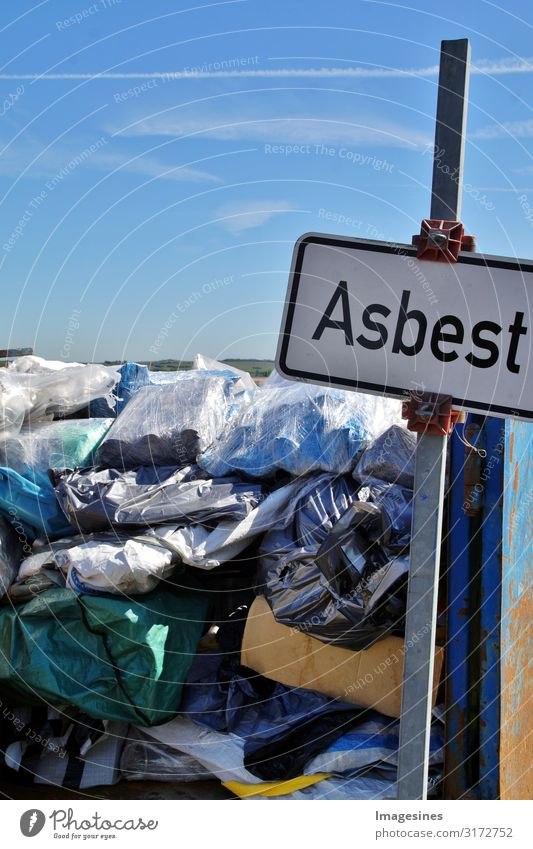 asbestos Silicate mineral Garbage dump Environment Nature Climate Poison venomously Sign Characters Signs and labeling Signage Warning sign Dangerous Threat