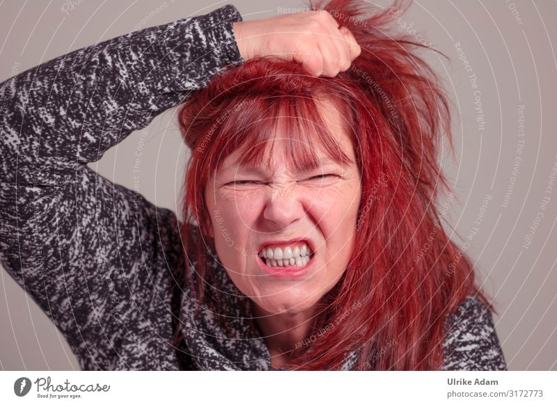 Woman is angry Human being Feminine Adults Head Teeth 1 45 - 60 years Sweater Red-haired Long-haired Bangs Scream Romp Aggression Threat Natural Rebellious