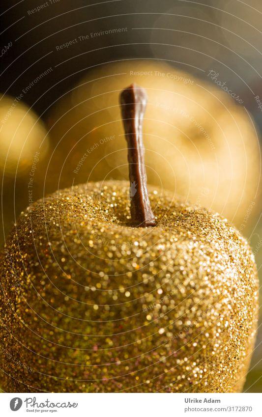 Christmas & Advent Religion and faith Feasts & Celebrations Moody Decoration Illuminate Gold Glittering Card Kitsch Apple