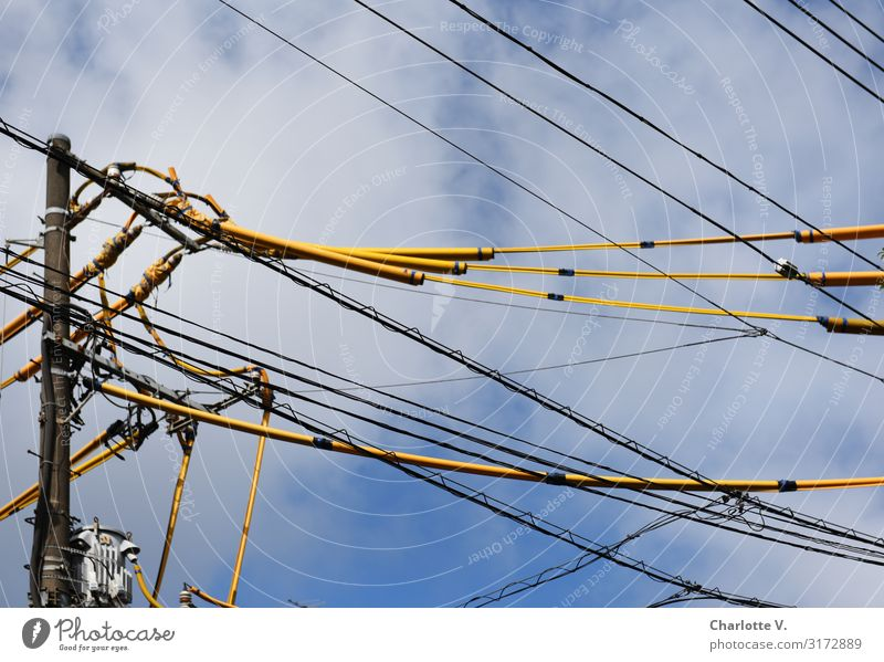 Sky Blue White Clouds Yellow Gray Above Line Illuminate Energy industry Technology Fantastic Tall Electricity Cable