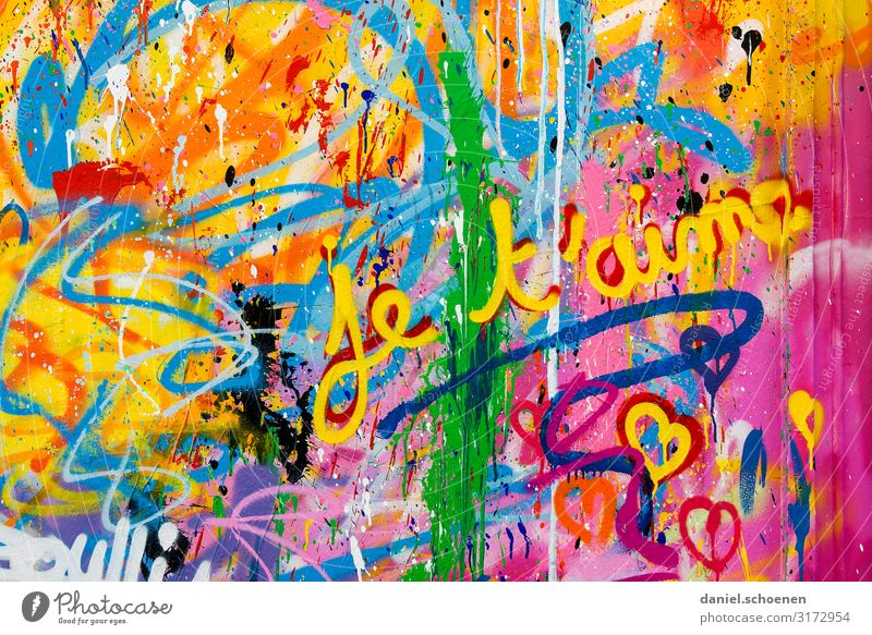 Blue Colour Green Red Graffiti Yellow Love Emotions Happy Art Orange Together Pink Friendship Characters Heart