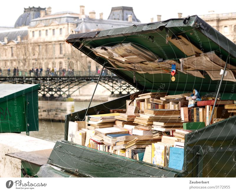 Old media / Antiquarian books on the banks of the Seine Reading City trip Book Second-hand bookshop Bookshop Paris France Bridge Crate Wood Shopping