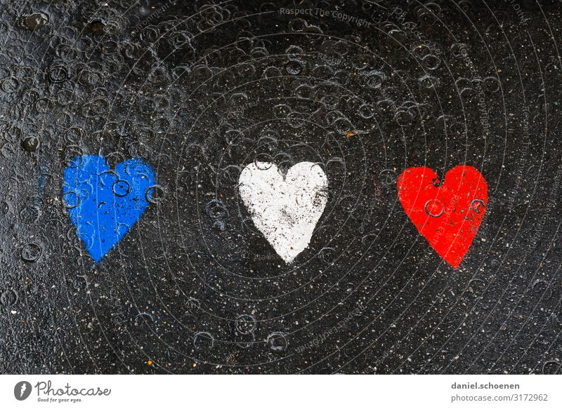 France (France) Vacation & Travel Art Sign Graffiti Heart Blue Red Black White Colour photo Detail Deserted Copy Space top Copy Space bottom
