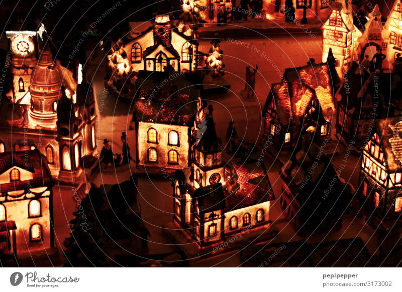 Christmas village Christmas & Advent Night sky Village Old town House (Residential Structure) Detached house Wall (barrier) Wall (building) Facade Window Door