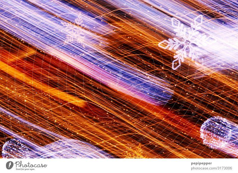 falling star Christmas & Advent Sign Ornament Sphere Line Stripe Star (Symbol) Movement Blue Orange Christmas decoration Christmas star Glitter Ball
