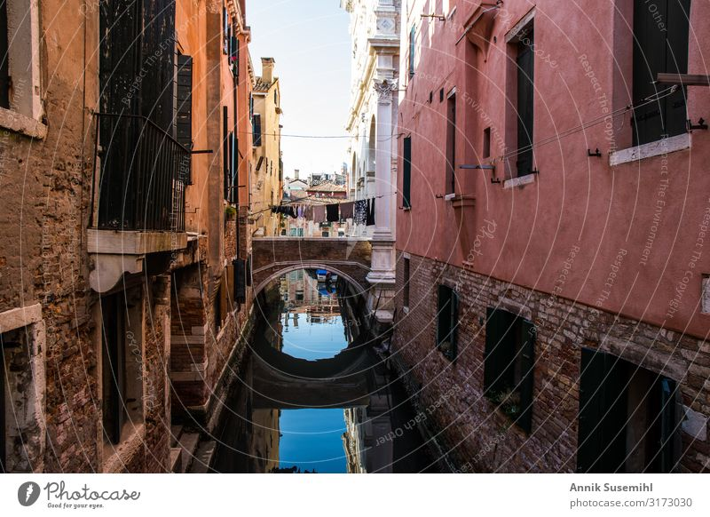 small bridge between palazzi in Venice with reflection Vacation & Travel Tourism Sightseeing City trip Cruise Island Architecture Town Port City Downtown