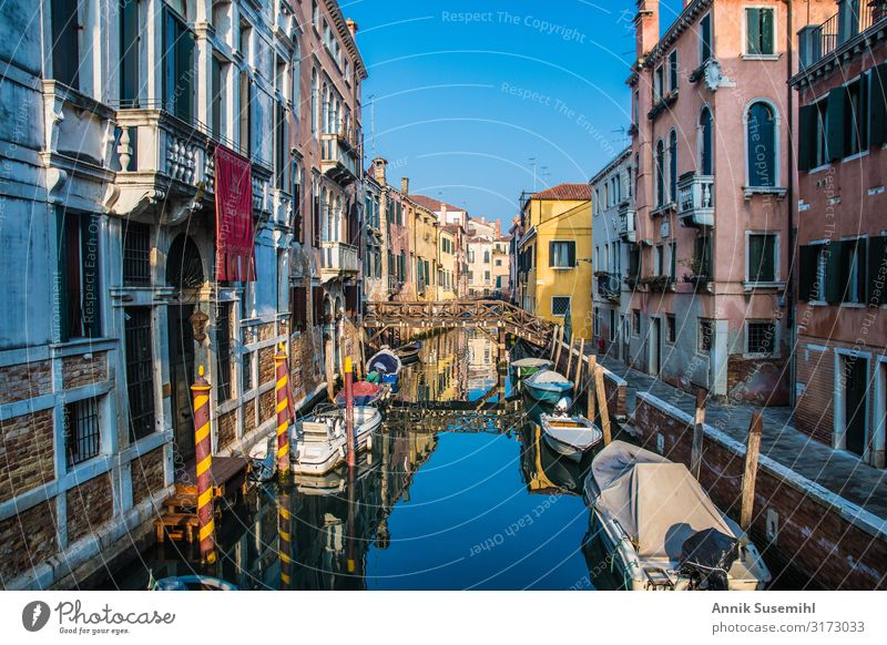 Quiet canal with boats in Canareggio, Venice Vacation & Travel Tourism Sightseeing City trip Cruise Summer Summer vacation Sun Island Architecture Culture