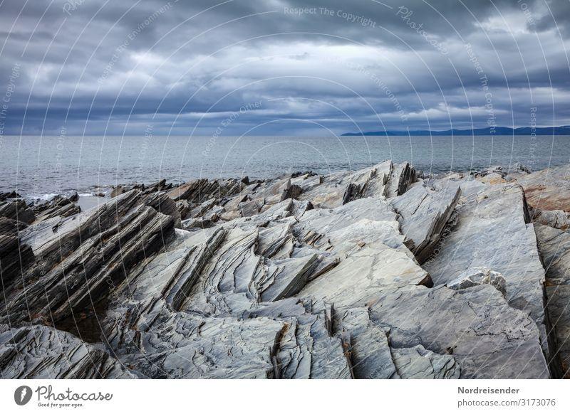 Barents Sea Vacation & Travel Adventure Far-off places Ocean Island Nature Landscape Elements Water Clouds Storm clouds Weather Rain Rock Coast Fjord Dark Cold