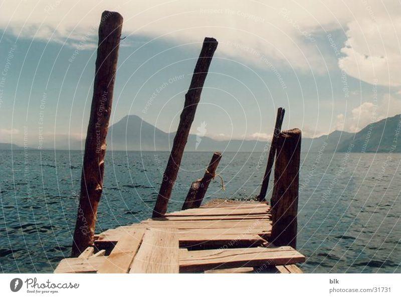 Lake Vantage point Footbridge Volcano South America Guatemala Atitlan Lake