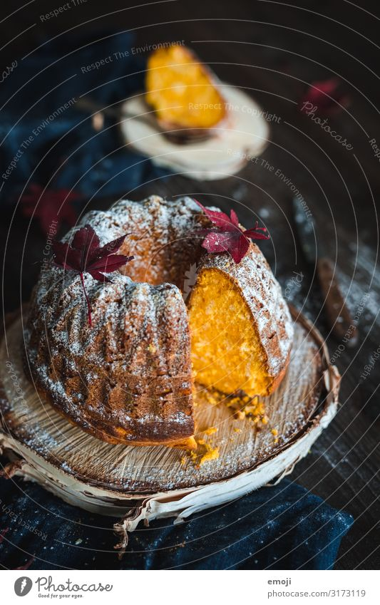 pumpkin pie Cake Dessert Nutrition To have a coffee Slow food Delicious Sweet Yellow Gugelhupf Holiday season Pumpkin time Autumnal Colour photo Multicoloured