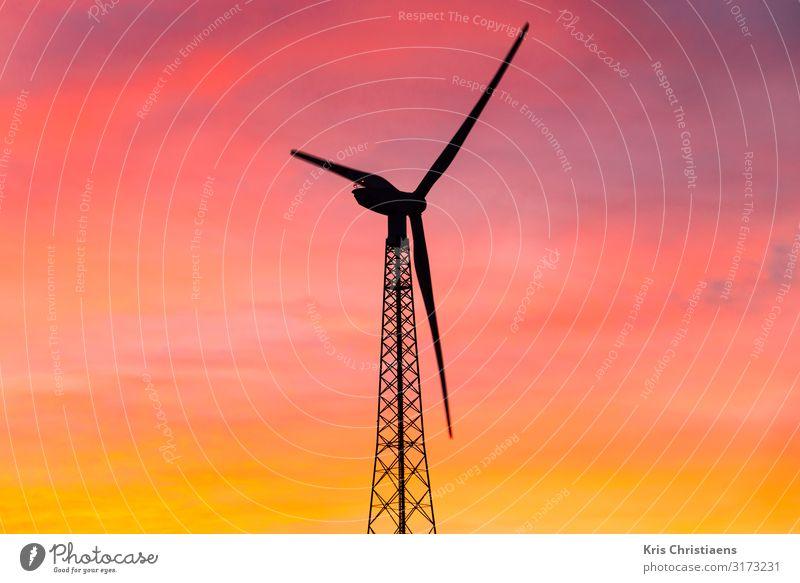 Wind turbine at sunrise Energy industry Renewable energy Wind energy plant Energy crisis Climate Climate change Metal Steel Colour Power Future wind turbine