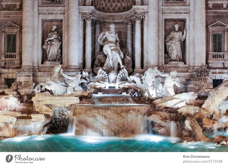 Trevi Fountain Vacation & Travel Tourism Sightseeing Summer Summer vacation Art Sculpture Architecture Town Capital city Manmade structures Wall (barrier)