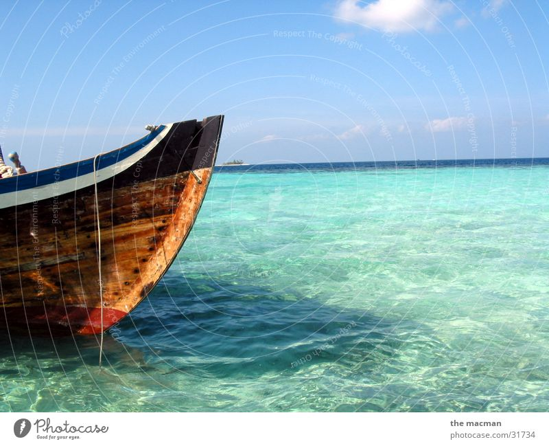 Water Beautiful Ocean Blue Vacation & Travel Loneliness Relaxation Watercraft Moody Island Africa Maldives