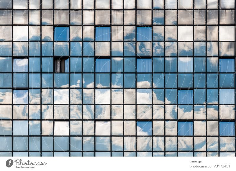 Weather Sky Clouds Beautiful weather Facade Glass Line Glas facade Exceptional Uniqueness Moody Nature Perspective Irritation Colour photo Exterior shot