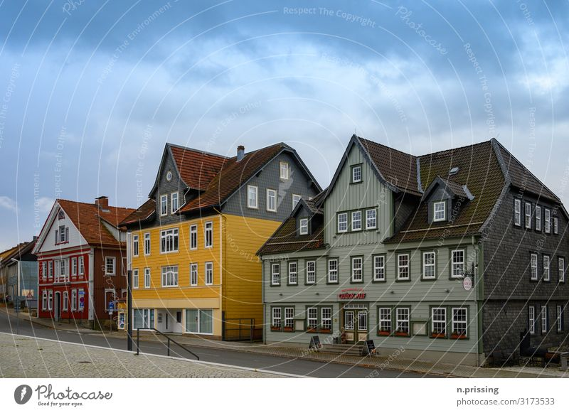 Half-timbered houses Clausthal Zellerfeld Small Town Downtown Deserted House (Residential Structure) Detached house Marketplace Building Architecture Facade
