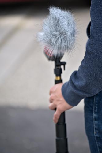 Young man holding microphone with windscreen Media industry Filming Microphone wind deflector Pelt Entertainment electronics Podcast Human being Masculine Arm