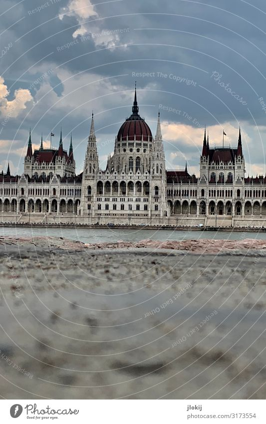 Parliament Water River bank Budapest Hungary Capital city Downtown Old town Deserted House (Residential Structure) Palace Manmade structures Architecture Facade