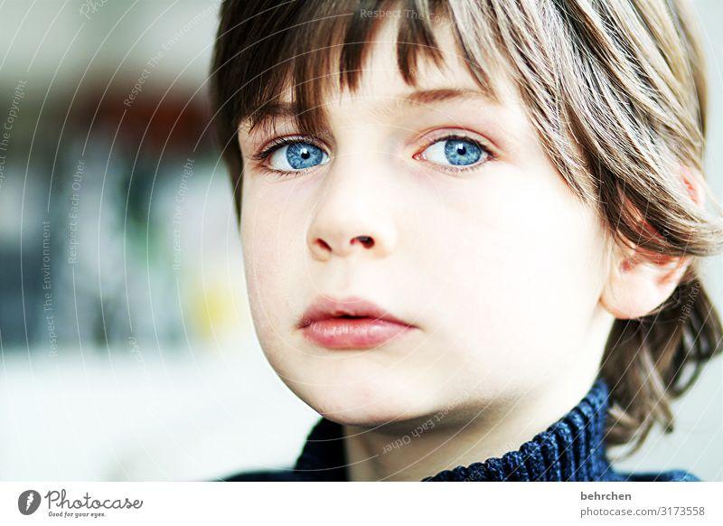 . Love Son portrait Contrast Light Day Close-up Concern Longing Meditative Intensive Earnest Colour photo Interior shot Lips Mouth Eyes Face Infancy Boy (child)