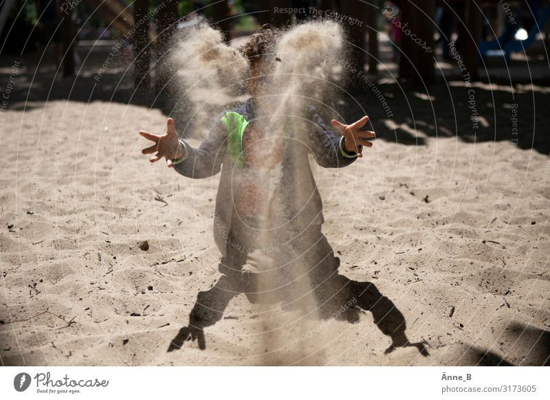 Sa(nd)lamander - child throws sand high into the air Child Hand 1 Human being Dance Sand Air Gale Park Beach Desert Animal tracks Lizards Salamander Amphibian