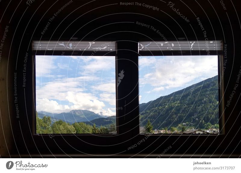 Window with view Landscape Sky Clouds Beautiful weather Alps Mountain Zillertal Austria Hut Modest Vacation & Travel Colour photo Exterior shot Interior shot