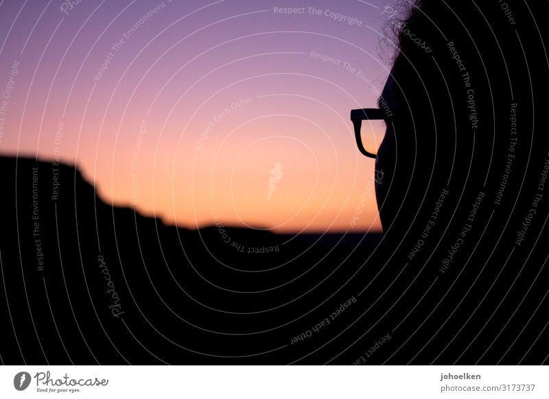 Morning Has Broken Human being Feminine Hair and hairstyles Face 1 Cloudless sky Horizon Sun Sunrise Sunset Beautiful weather Mountain Eyeglasses Looking Violet