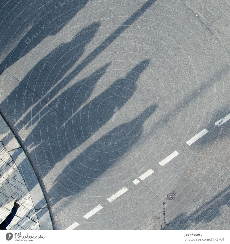 Shadow cast on open road with 5 Human being Group Berlin Outskirts Passenger traffic pedestrian Street Lane markings Curbside Asphalt Going Long Under Gray