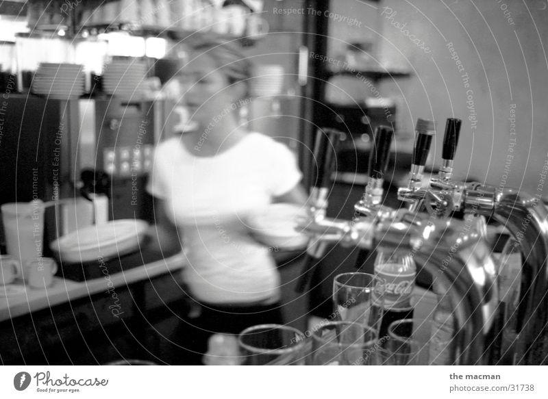 at the bistro Sidewalk café Gastronomy Waiter Closing time Bar Feminine Nutrition Roadhouse Black & white photo restaurateurs