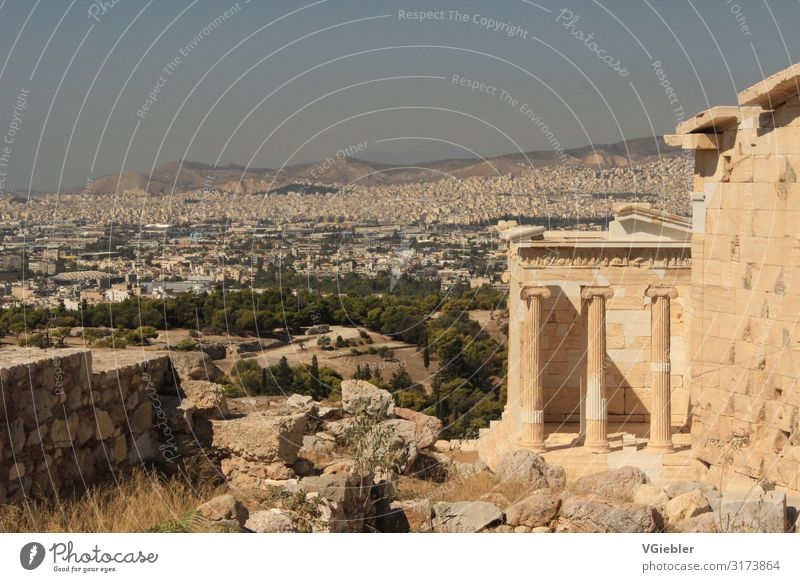 antiquity Architecture Athens Greece Europe Capital city Manmade structures Building Temple Tourist Attraction Landmark Monument Acropolis Stone Old Bright Town